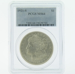 1921 S Silver Morgan Dollar PCGS MS-64