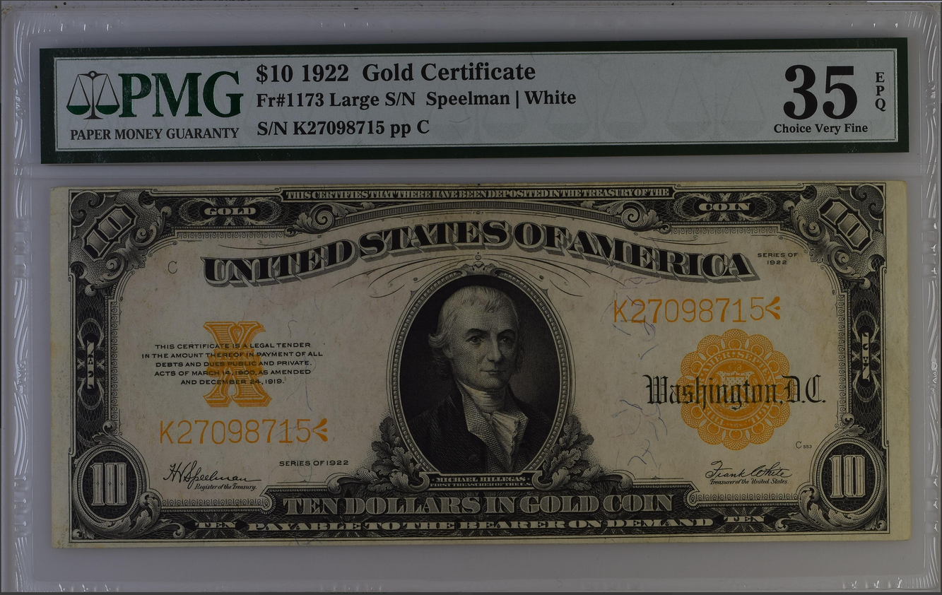 1922 $10 Twenty Dollar Gold Certificate Fr-1173 PMG 35 Choice VF
