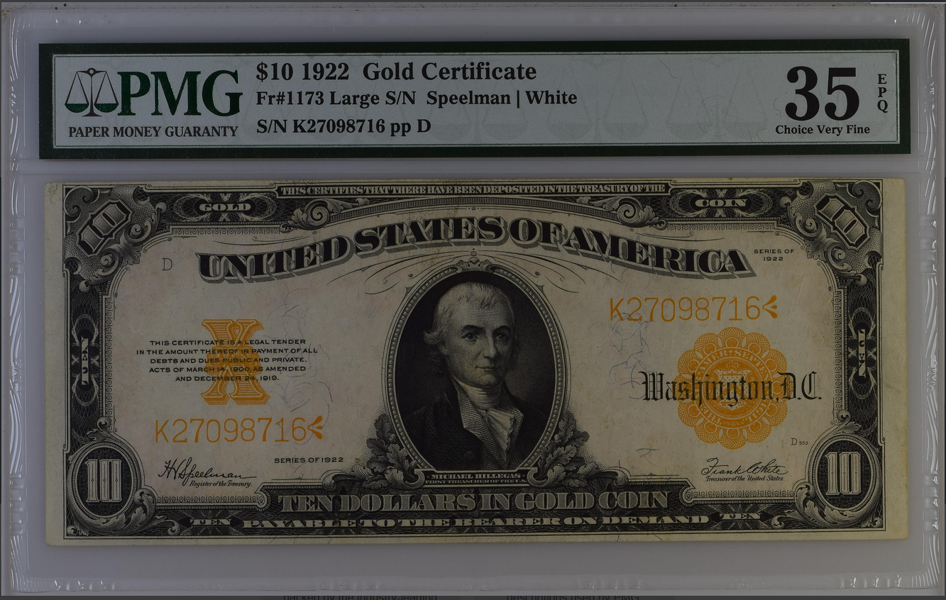 1922 $10 Twenty Dollar Gold Certificate FR1173 PMG 35 Choice VF