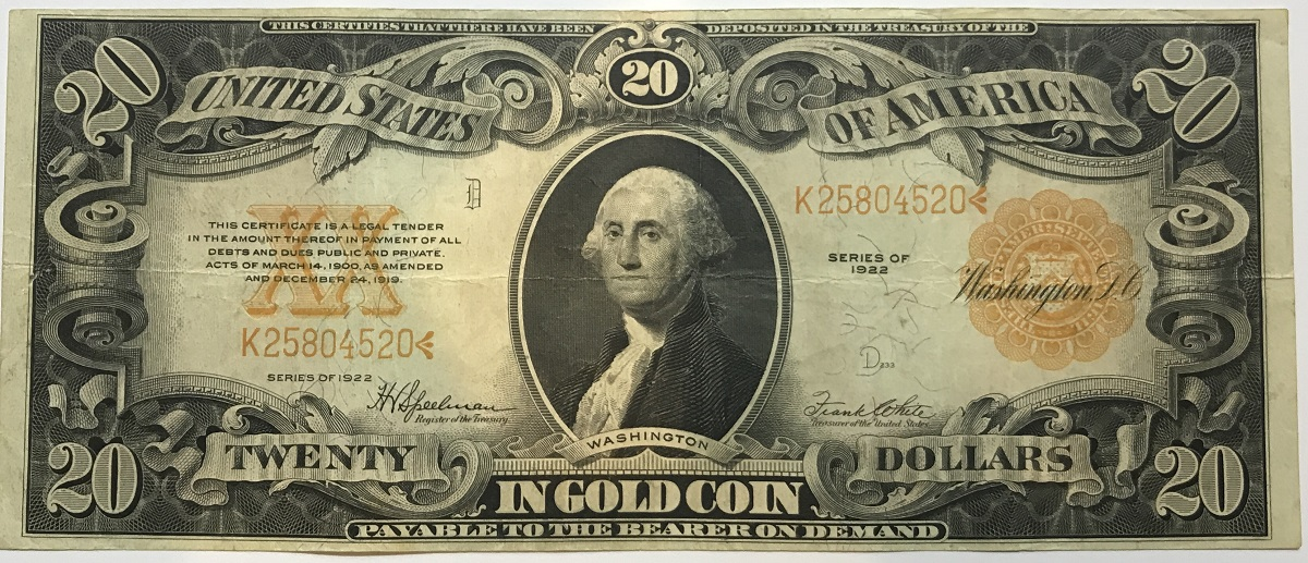 1922 $20 Gold Certificate In Gold Coin Note Washington Large Sil