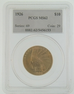 1926 $10 Gold Indian Head Eagle Coin PCGS MS62