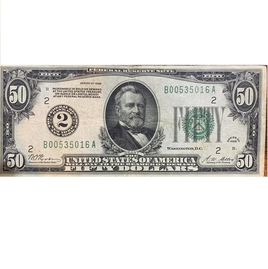 1928 Series $50 Federal Reserve FR# 2100-B Note