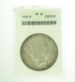 1928 Peace Silver Dollar ANACS MS-62