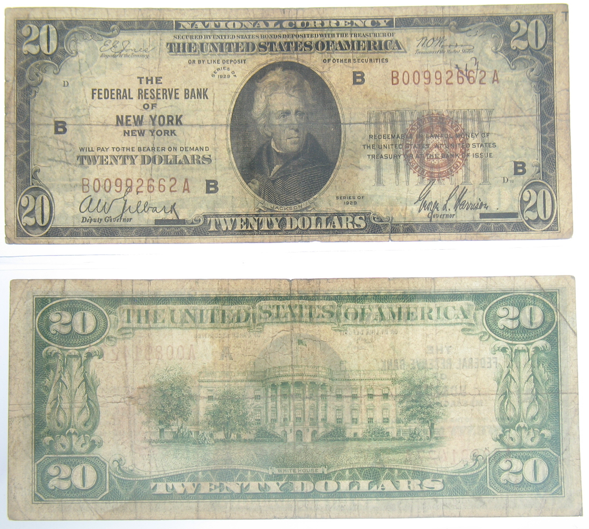 1929 $20 Federal Reserve Note New York NY