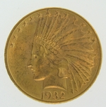 1932 $10 Gold Indian Head Eagle Coin