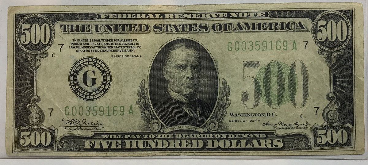 1934a 500 Federal Reserve Bank Note 1934a 500 Fr Note