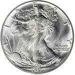 1987 1 oz American Silver Eagle Coin With Air-Tite Holder