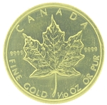 1987 1/10th Ounce Canadian Gold Maple Leaf Coin - Click Image to Close