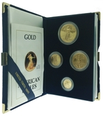 1988 Proof Gold American Eagle 4 Coin Set With Box & COA