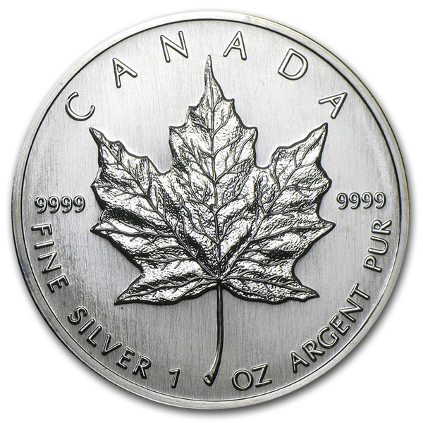 1989 1 oz Canadian Silver Maple Leaf Coin 9999 Silver