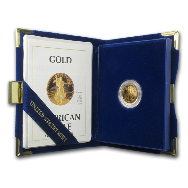 1989-P 1/10th oz Proof Gold American Eagle With Box & COA