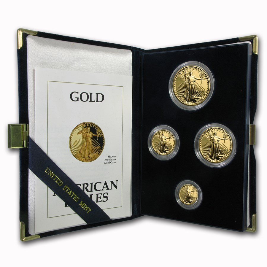 1991 Proof Gold American Eagle 4 Coin Set With Box & COA