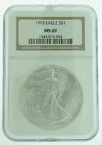 1993 1 oz American Eagle Silver Coin NGC MS-69