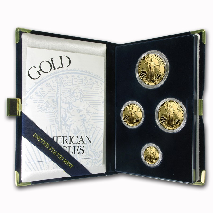 1995 Proof Gold American Eagle 4 Coin Set With Box & COA