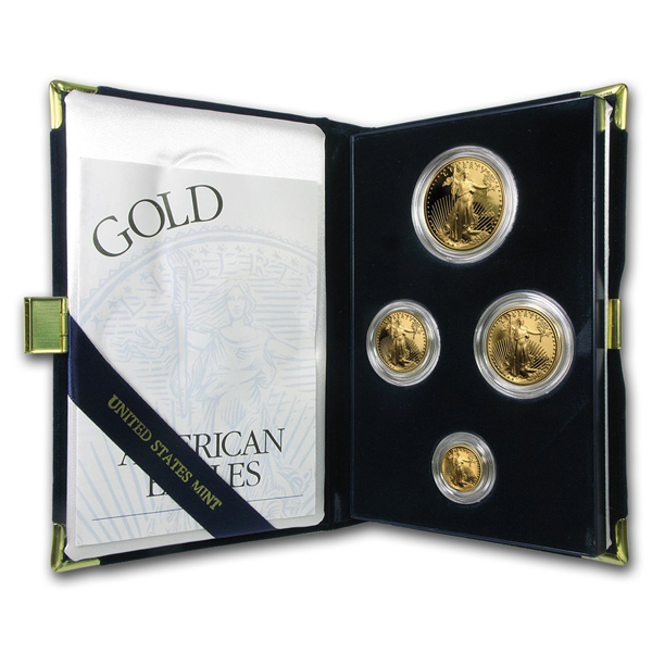 2000 Proof Gold American Eagle 4 Coin Set With Box & COA