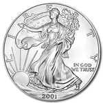 2001 1 oz American Silver Eagle Coin With Air-Tite Holder