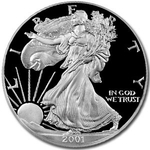 2001 W Proof American Silver Eagle Coin