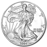 2004 1 oz American Silver Eagle Coin With Air-Tite Holder