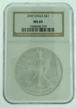 2007 1 oz American Eagle Silver Coin NGC MS-69