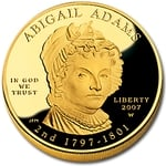 2007 W 1/2 Ounce Proof Gold Abigail Adams With Box & COA - Click Image to Close