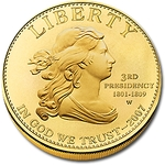 2007 W 1/2 Ounce Uncir. Gold Jefferson's Liberty With Box & COA - Click Image to Close