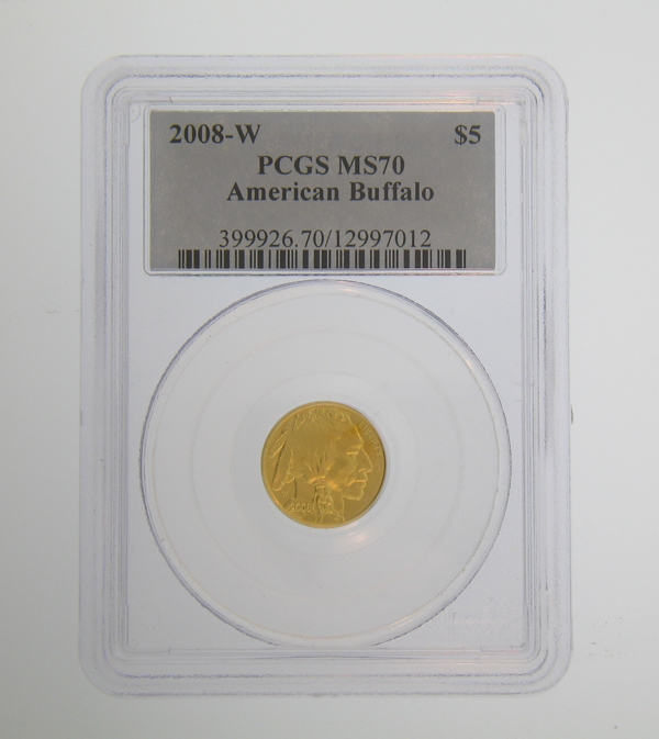 2008-W American 1/10 oz Gold Buffalo Coin PCGS MS70