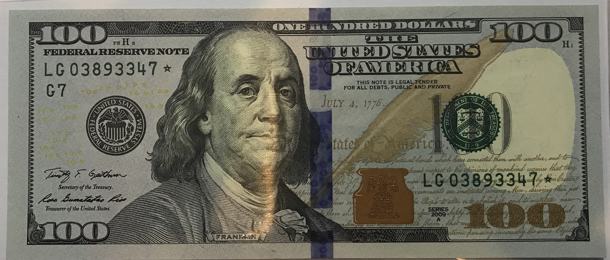 2009a 100 Federal Reserve Note Star Note 2009a 100d Star