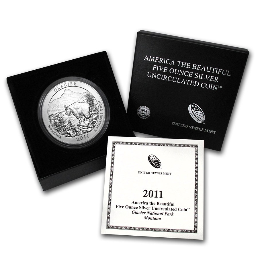 2011-P 5 oz Silver ATB Glacier With Box & COA