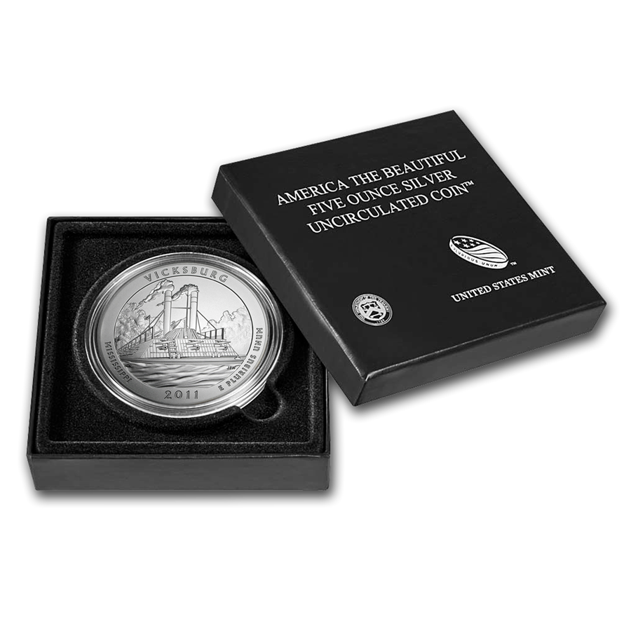 2011-P 5 oz Silver ATB Vicksburg With Box & COA