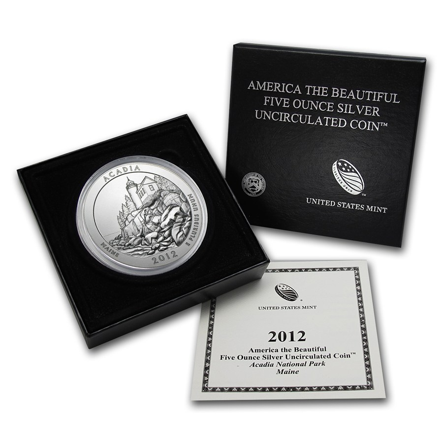 2012-P 5 oz Silver ATB Acadia With Box & COA