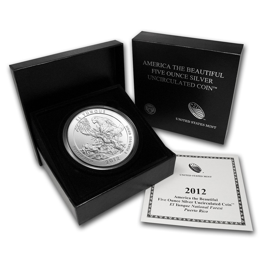 2012-P 5 oz Silver ATB El Yunque With Box & COA