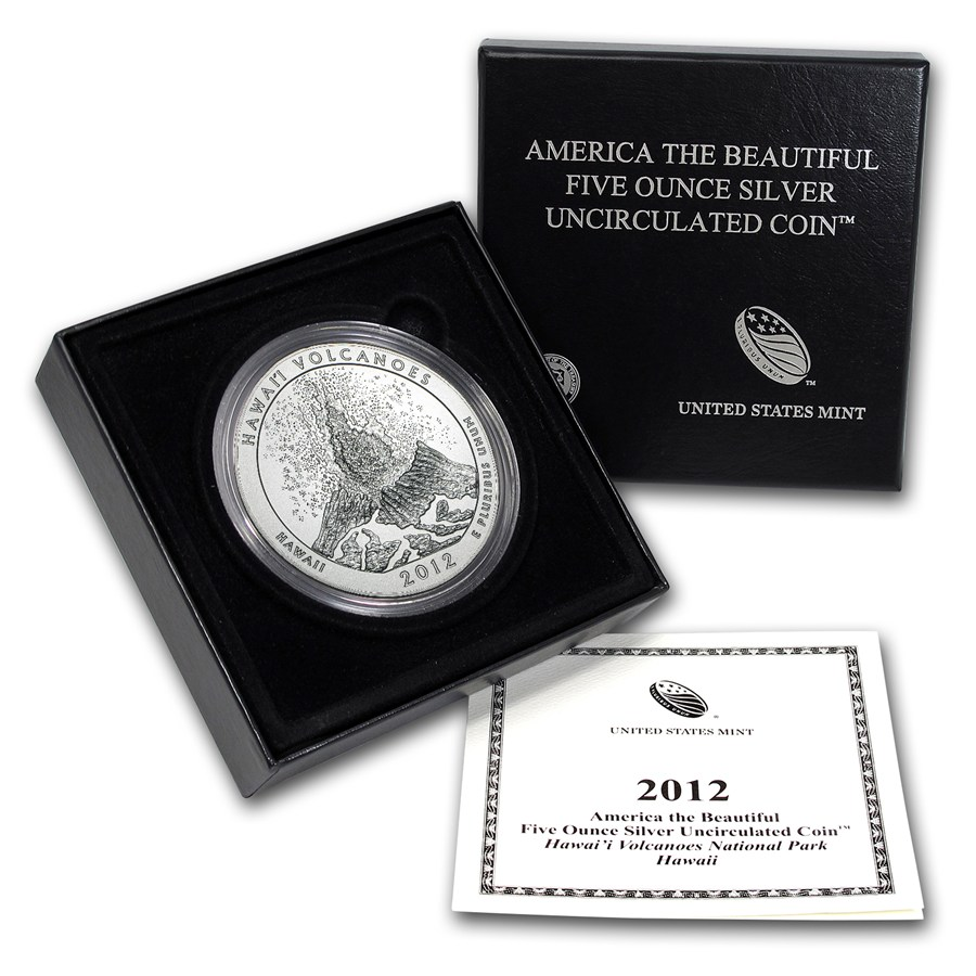 2012-P 5 oz Silver ATB Hawaii Volcanoes With Box & COA