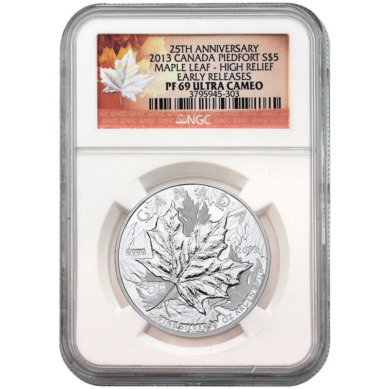 2013 Canada Silver 25th Annv. Maple Leaf 1oz High Relief NGC PF6