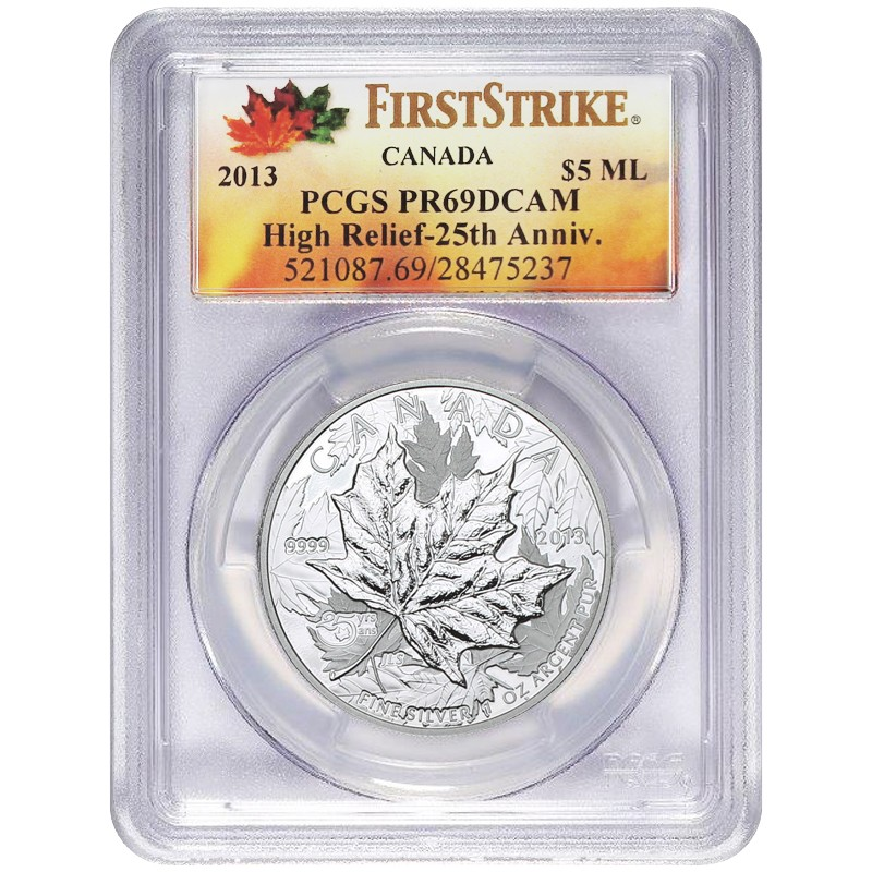 2013 Canada Silver 25th Annv. Maple Leaf 1oz High Relief PCGS