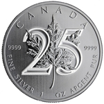 2013 25th Anniversary 1 oz Canadian Silver Maple Leaf