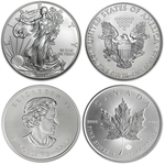 2014 American Eagle & Canadian Maple Leaf Silver 2 Coin Combo