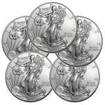 Lot of 5 - 2014 1 oz American Silver Eagle Coins BU