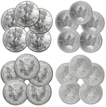 Lot of 10 Silver Coins - 2014 American Eagles & Canadian Maples