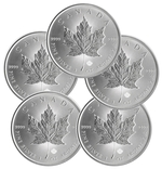 Lot of 5 - 2014 1 Oz Canadian Silver Maple Leaf Coin 9999 Silver