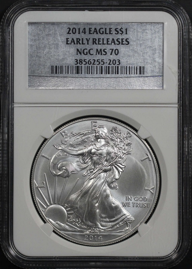 2014 Silver American Eagle MS-70 NGC ER - Silver Label