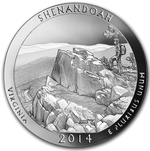 2014 5 oz Silver ATB Shenandoah National Park Coin VA