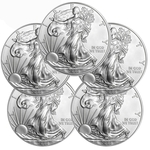Lot of 5 - 2015 1 oz American Silver Eagle Coins BU