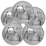 Lot of 5 - 2015 1 oz Silver Chinese Panda Coin In Capsule