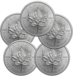 Lot of 5 - 2015 1 oz Canadian Silver Maple Leaf Coin 9999 Silver
