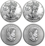 Lot of 4 Silver Coins - 2016 American Eagles & Canadian Maples