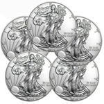 Lot of 5 - 2016 1 oz American Silver Eagle Coins BU