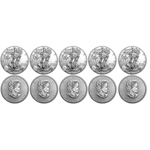 Lot of 10 Silver Coins - 2016 American Eagles & Canadian Maples