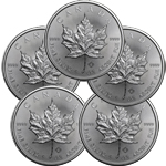 Lot of 5 - 2016 1 oz Canadian Silver Maple Leaf Coin 9999 Silver