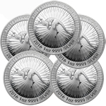 Lot of 5 - 2016 1 oz Silver Australian Kangaroo Coin BU