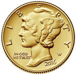 2016-W 1/10 oz Gold Mercury Dime Centennial With COA & Box